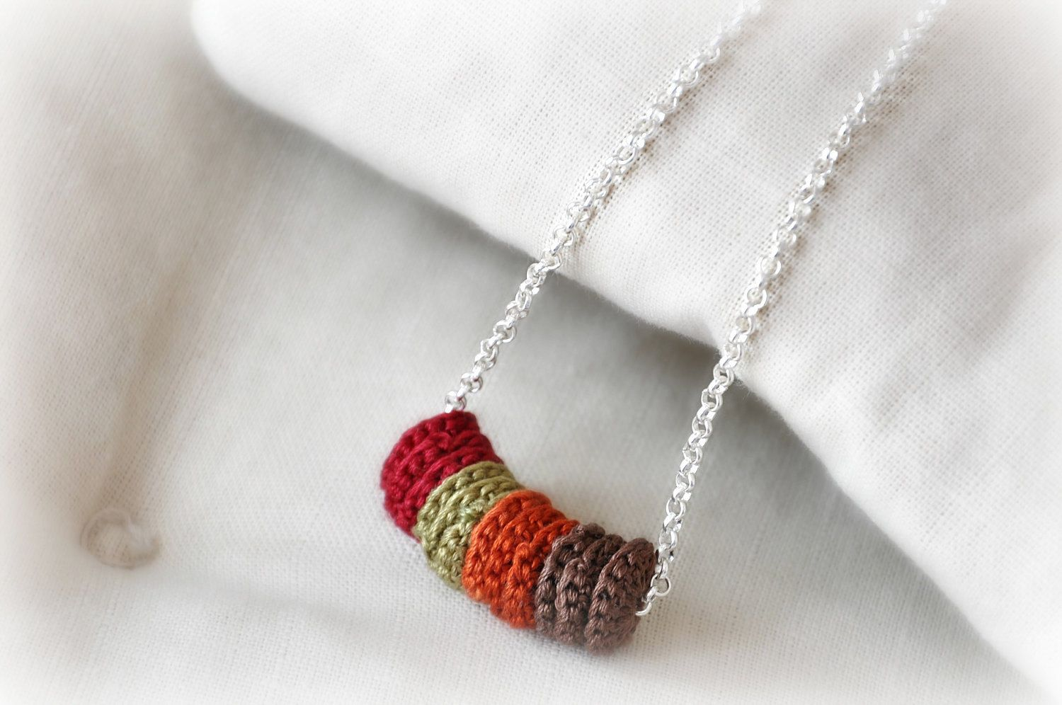 Autumn Leaves Necklace Silver Crochet  Eco Friendly Jewelry  Embroidery Braidsmaid Statement Choker Christmas Gift Winter Fashion. $26.00, via Etsy.