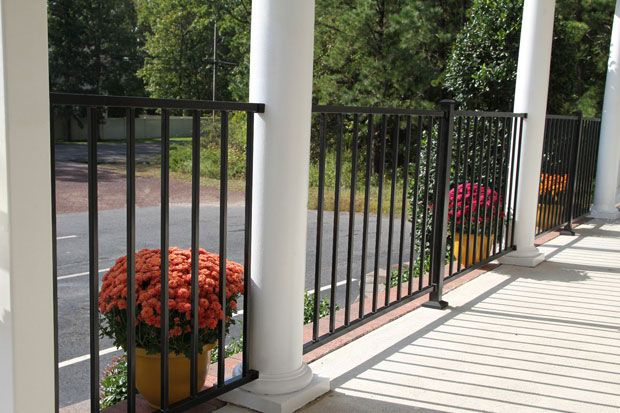 Black patio steel railing lovely vinyl porch and deck