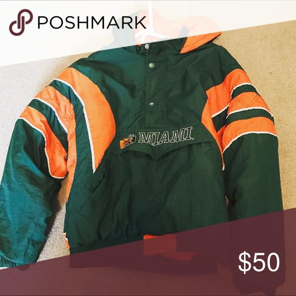 Vintage Miami Hurricanes Starter Jacket Mens Medium Youth Xl Stitching Under Armpit Slight Frayed Button Sligh Jackets Miami Hurricanes Jacket Mens Jackets