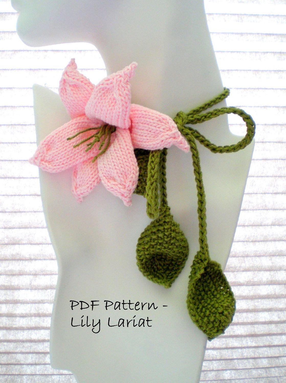 PDF Knitting Pattern - Knit Jewelry - Lily Lariat | Knitting ...