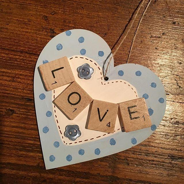Hanging heart scrabble, love the duck egg blue ❤️