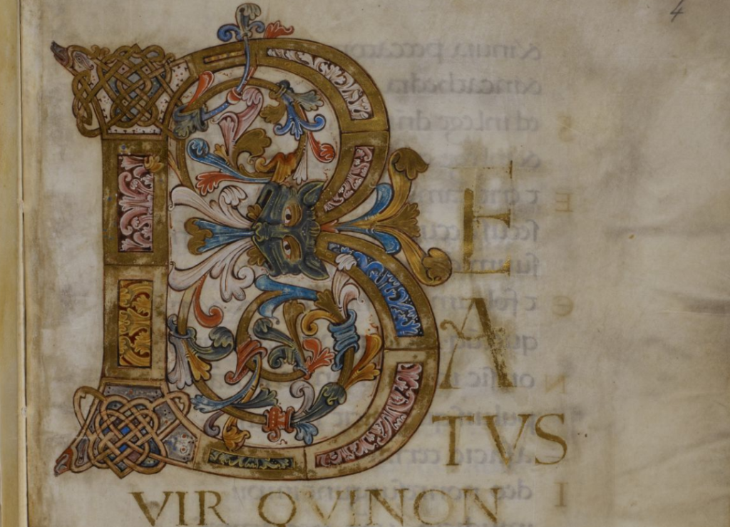 The beautiful Ramsey Psalter, perhaps made for St Oswald's own use, can be seen online here: http://www.bl.uk/manuscripts/Viewer.aspx?ref=harley_ms_2904_fs001r …