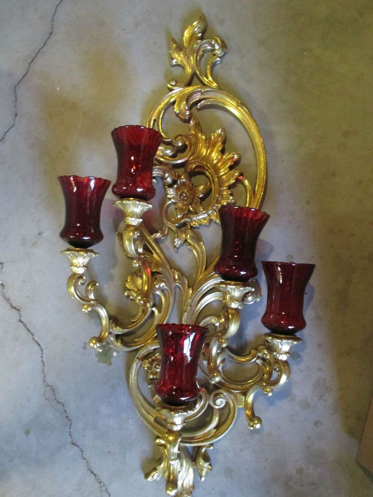 SYROCO Vintage Gold Wall Sconce CANDLE HOLDERS w/5 Red ... on Vintage Wall Sconce Candle Holder Decorating Ideas id=46385