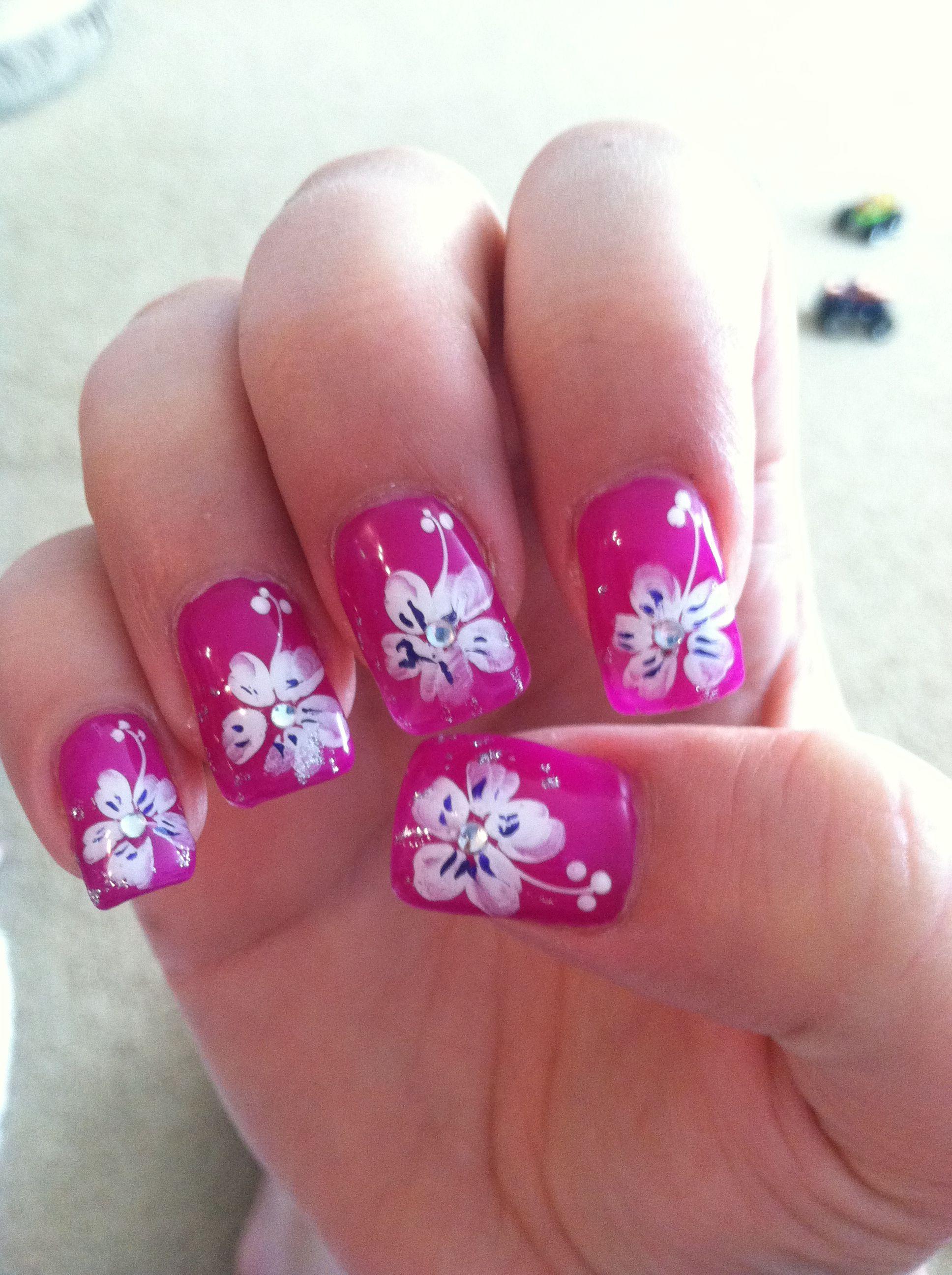 Tropical flower nails! | Hair & Beauty | Flower nail ...
