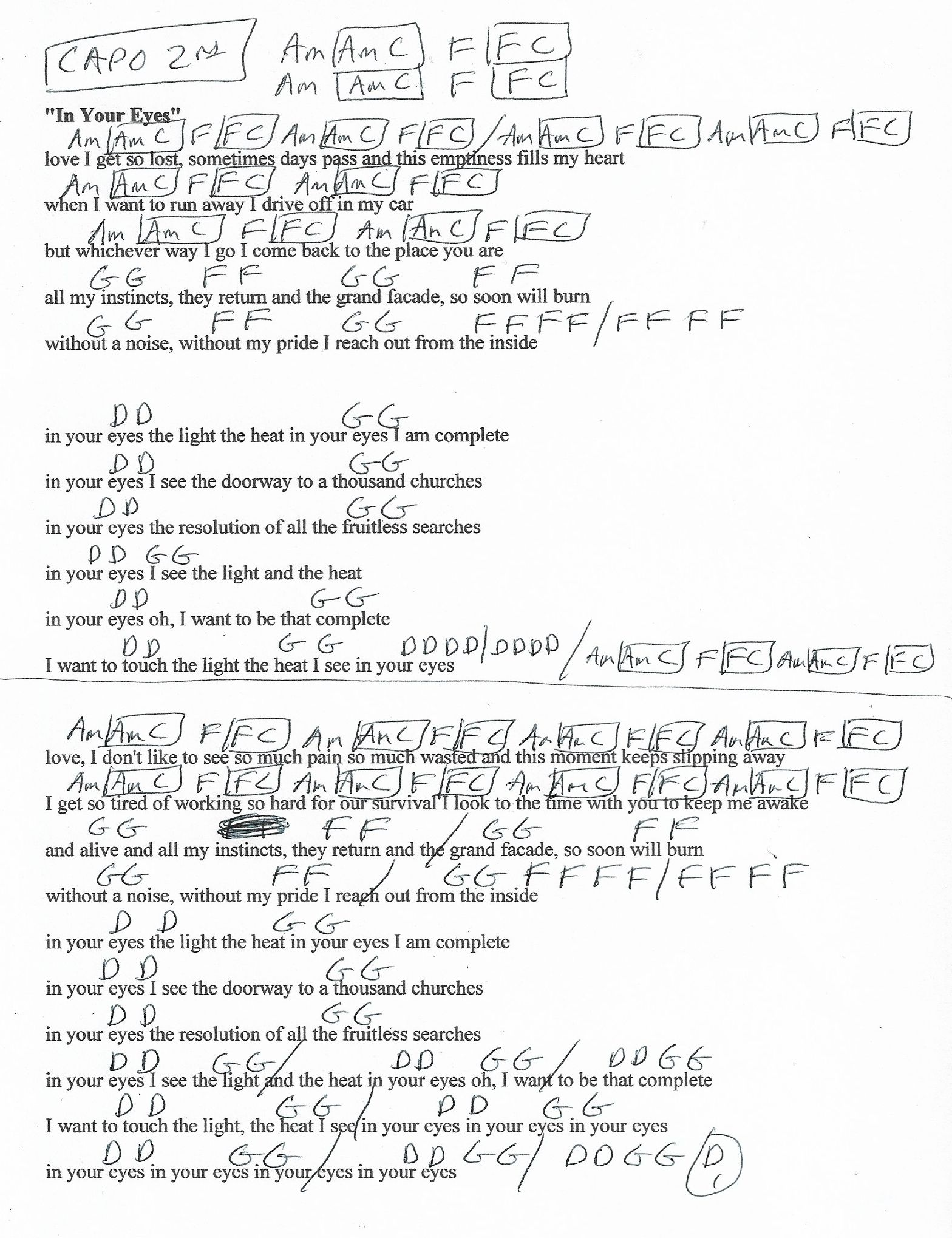In Your Eyes Peter Gabriel Guitar Chord Chart Capo 2nd Fret
