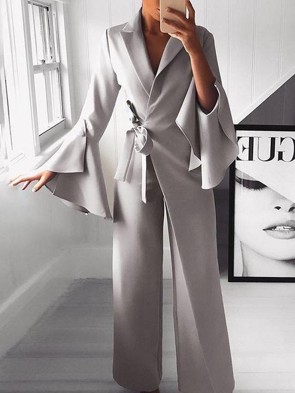 New Light Grey Belt Irregular Bell Sleeve Elegant Party Wide Leg Palazzo Long Jumpsuit Pant
