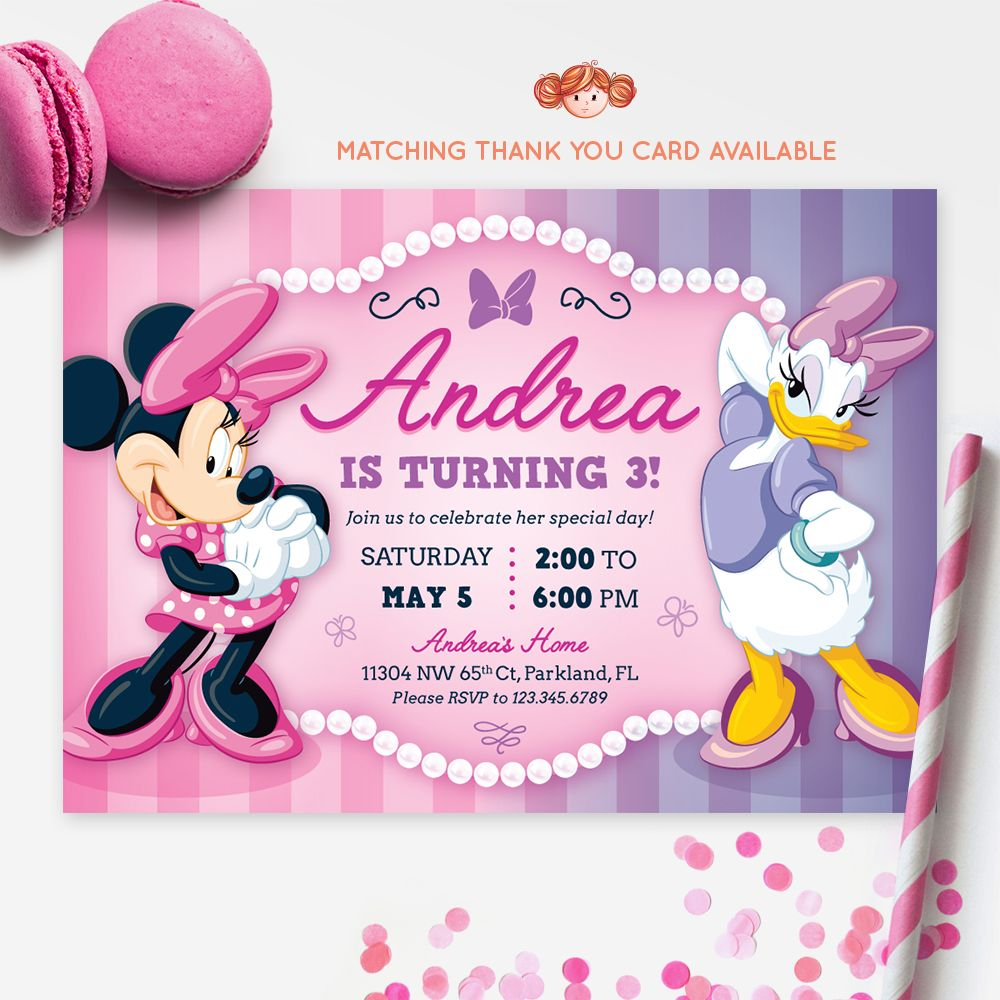 Minnie Mouse And Daisy Duck Invitation Printable Kids Birthday Party Red Head Invites