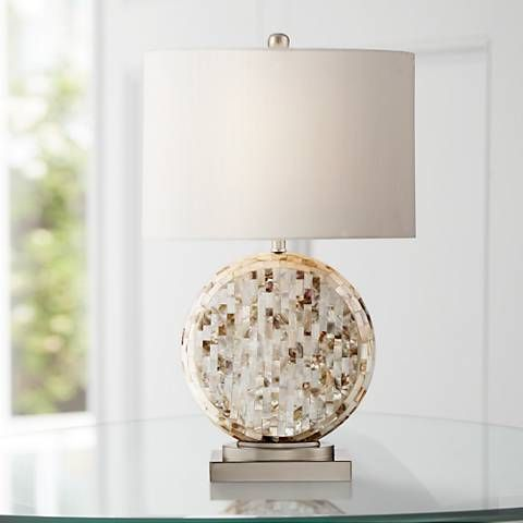 Tracey Round Mother Of Pearl Table Lamp   #9W751 | Lamps Plus