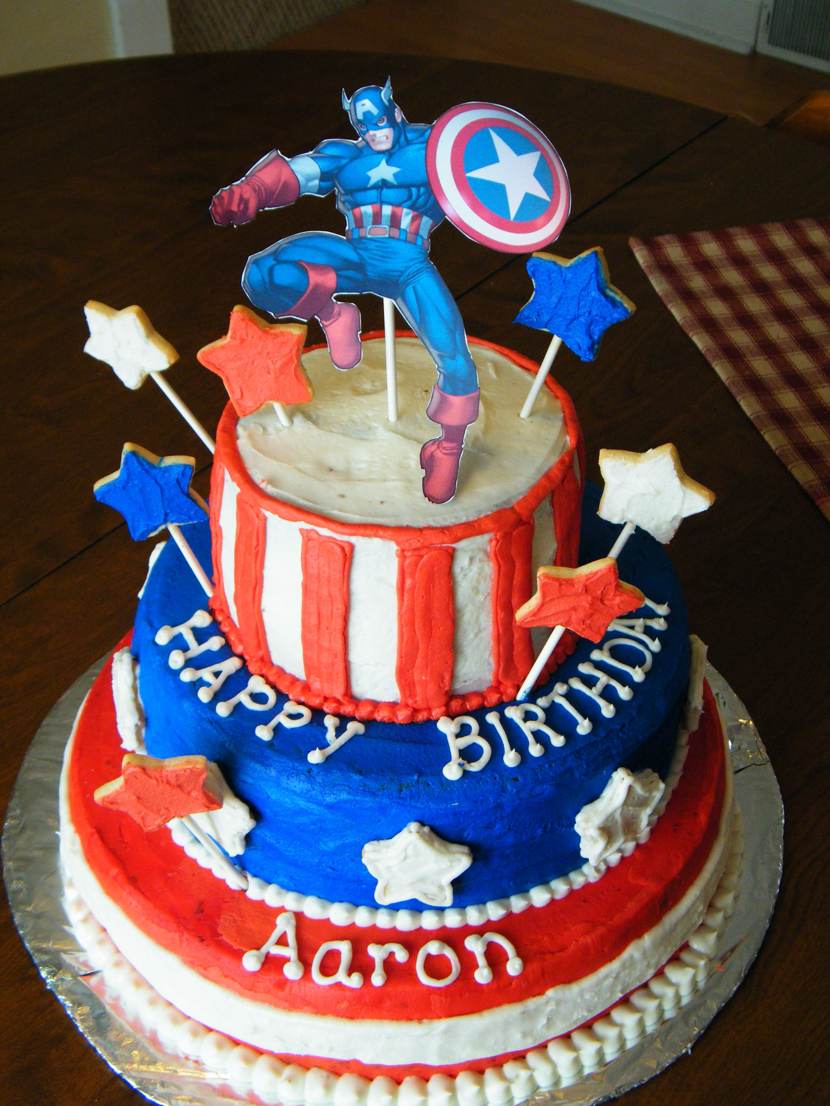 Captain America Birthday Cake Sweet Treats Pinterest Captain