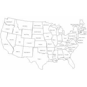 States And Territories Of The United States Of America - Us map outline with state names