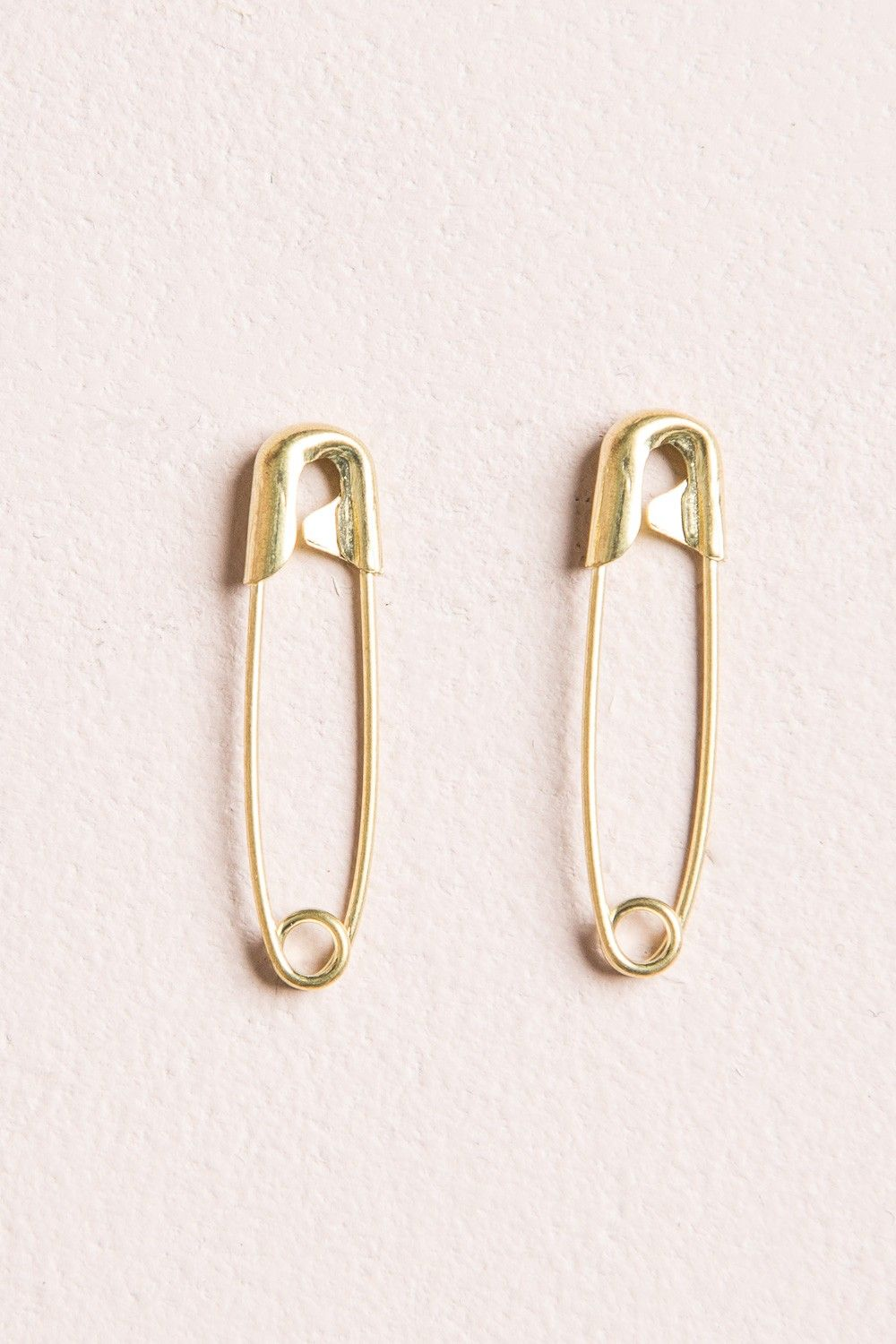 Brandy Melville Gold Safety Pin Earrings Jewelry