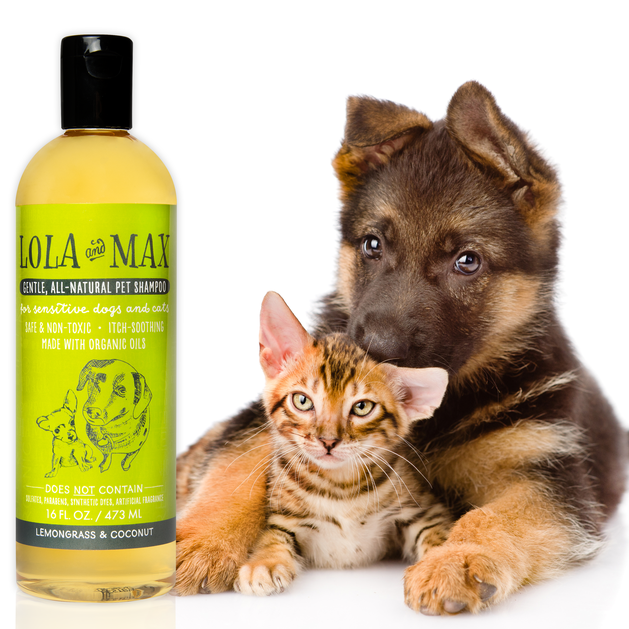 Lola And Max Organic All Natural Pet Shampoo Non Toxic Hypoallergenic Care For Itchy Sensitive Dogs And Cats Conditions And S Natural Pet Pet Shampoo Pets