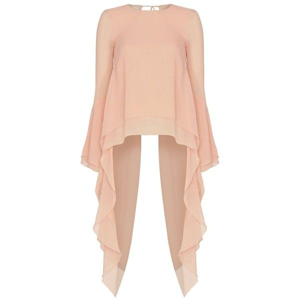 Antonio Berardi Hi/Lo Open Back Chiffon Blouse ($1,260) ❤ liked on Polyvore featuring tops, blouses, red top, draped long sleeve top, long sleeve chiffon blouse, chiffon top and chiffon blouse