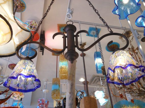 Blown Glass Chandelier  Island Lighting  Pendant by PrimoGlass, $325.00