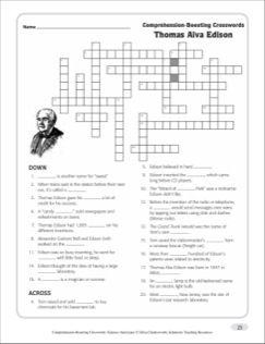 Thomas Alva Edison Text Crossword Puzzle Crossword Puzzle Printable Crossword Puzzles Crossword