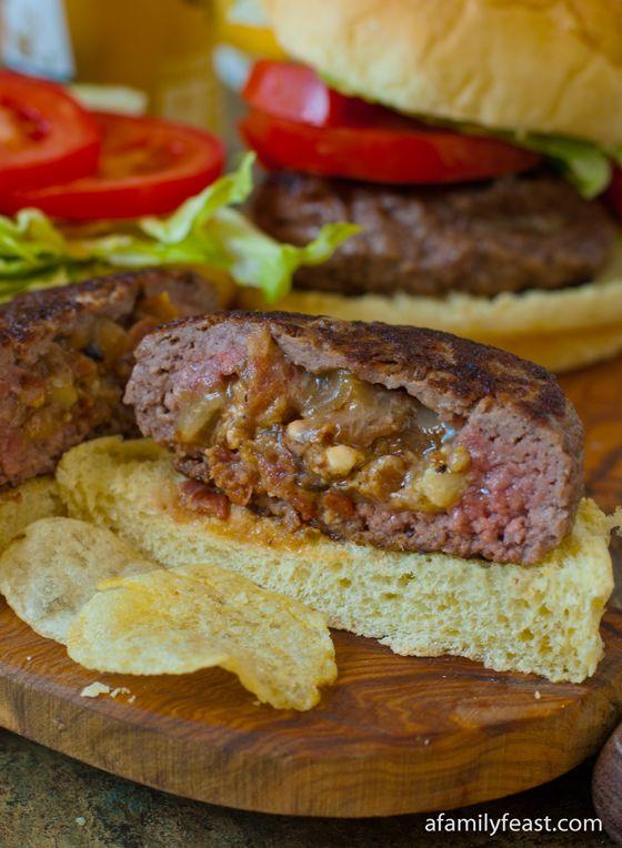 Bacon and Blue Cheese Stuffed Burgers - A Family Feast® #stuffedburgerrecipes