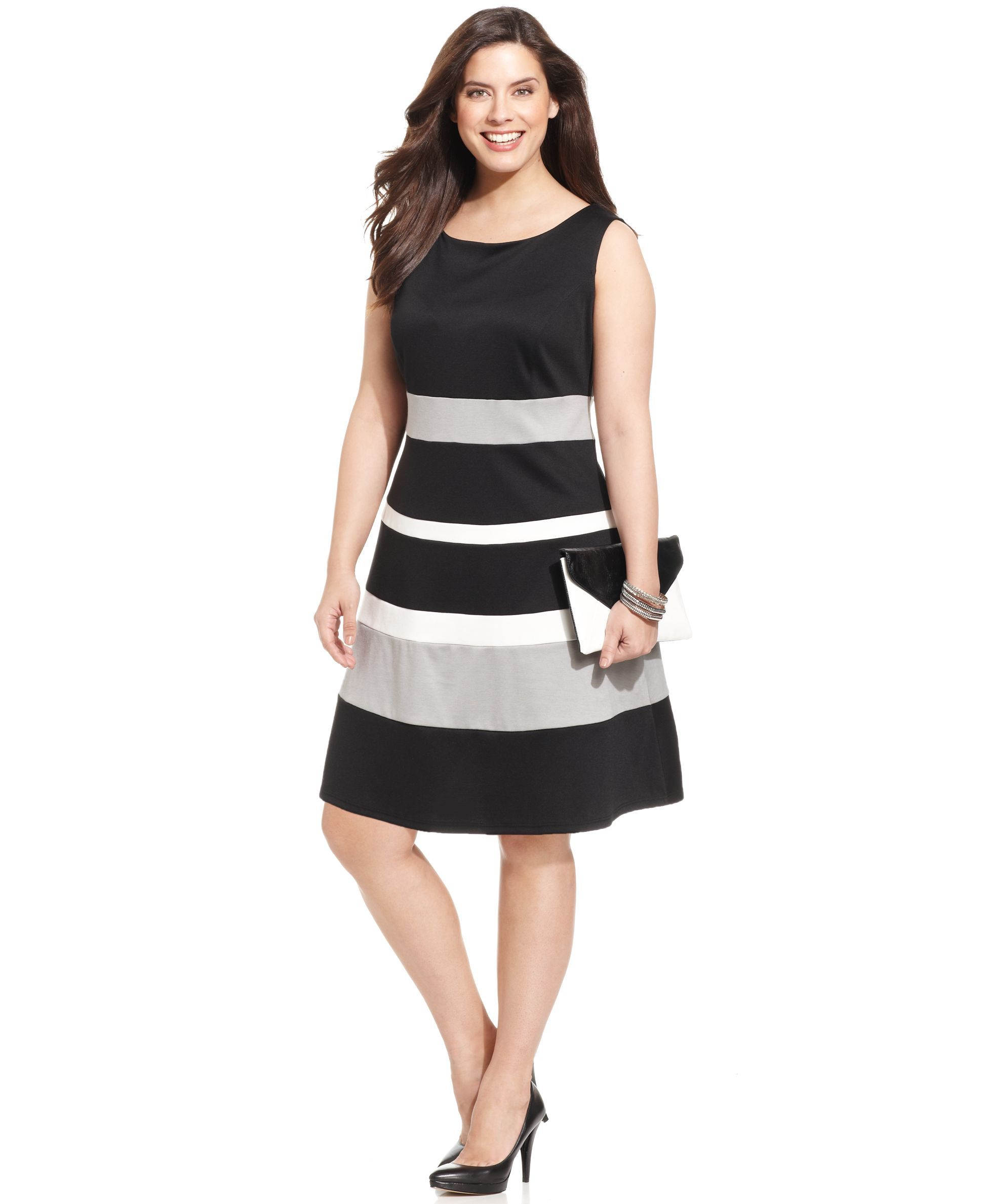 NY Collection Plus Size Sleeveless Ponte-Knit Colorblocked A-Line ...