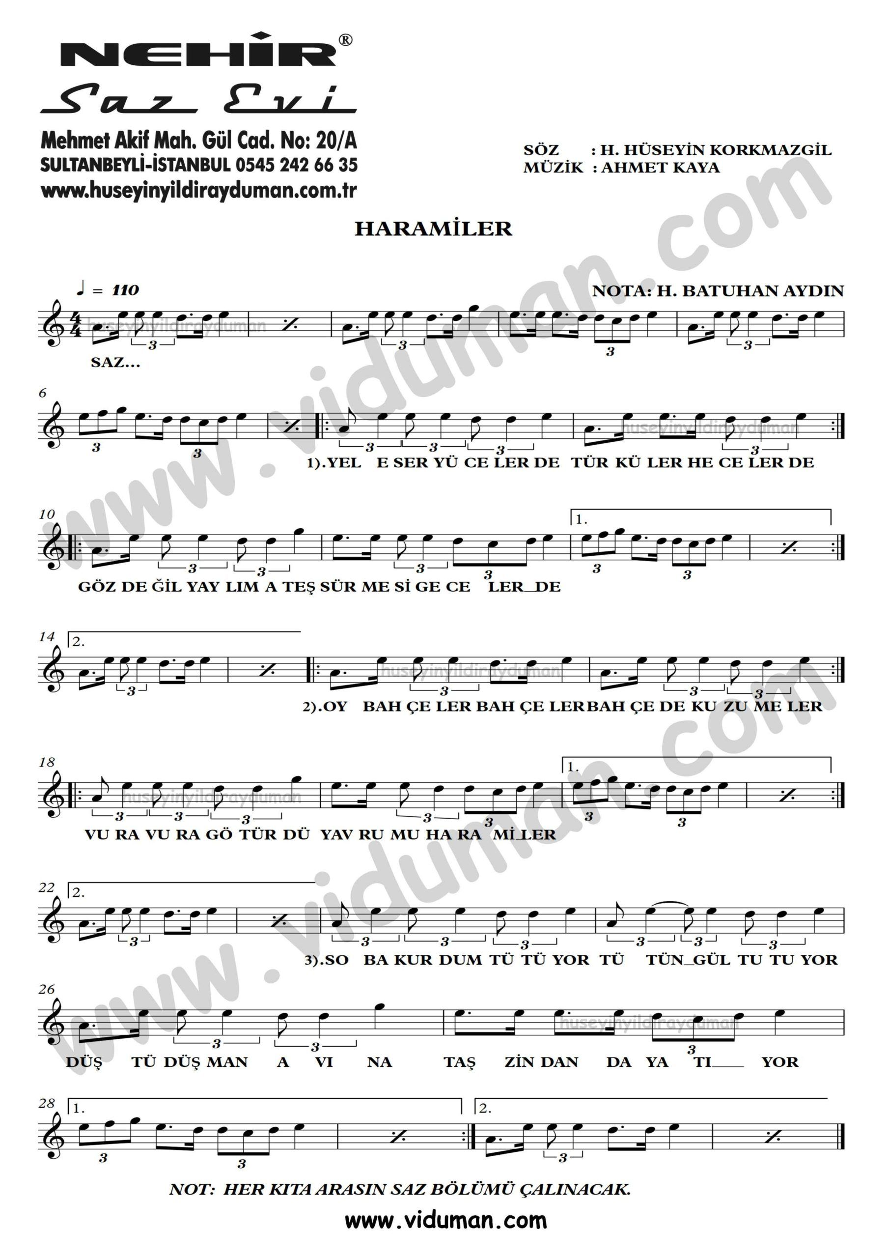 Haramiler Ahmet Kaya Nota Baglama Saz Turku Notalari Muzik Notalari Muzik Calisma