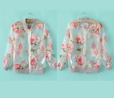 Sheer Floral Letterman Sizes S-L new aesthetic: floral jock Letterman Jacket  with a floral printed organza fabrics
