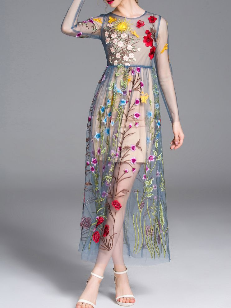 2485a2daff Shop Blue Sheer Gauze Embroidered Maxi Dress online. SheIn offers Blue  Sheer Gauze Embroidered Maxi Dress & more to fit your fashionable needs.