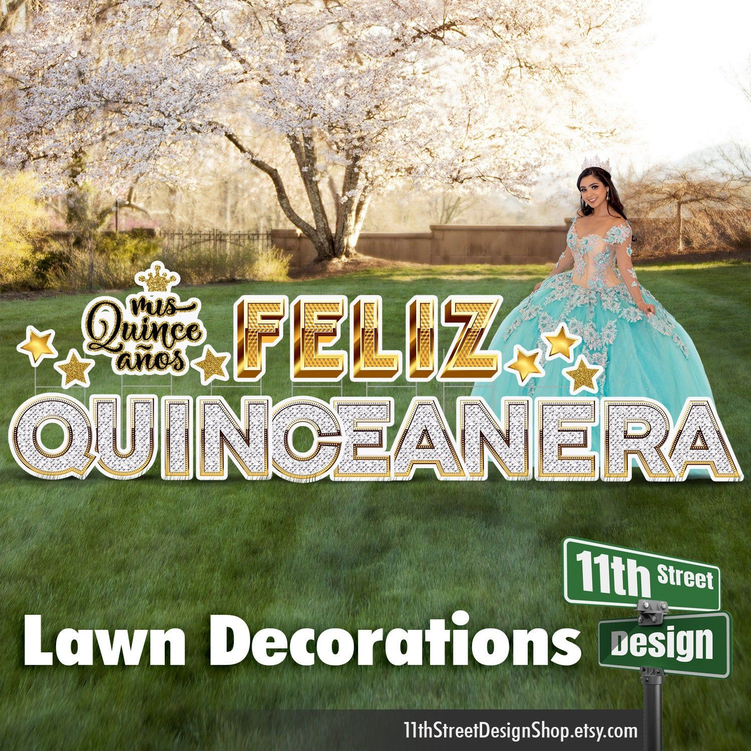 Feliz Quinceanera Lawn Decorations Yard Sign Letters Mis Etsy Lawn Decor Yard Cards Quinceanera