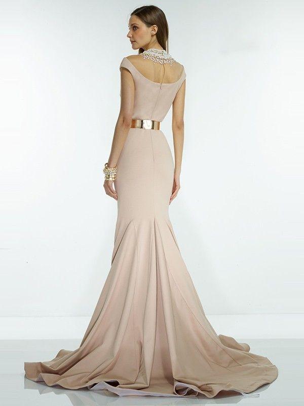 769578e278c Trumpet Mermaid Short Sleeves High Neck Elastic Woven Satin Court Train Sash  Ribbon Belt Dresses