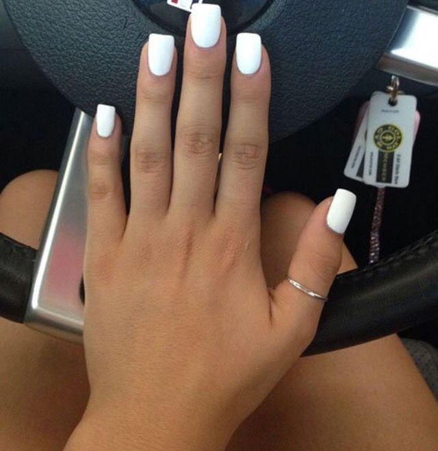 Pin By Magnolia Bell On Nails White Acrylic Nails Short Square Nails Matte White Nails