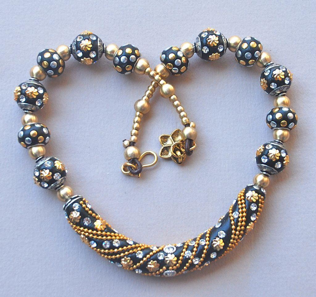 Boho Chic: Necklace of Handmade Kashmiri Beads. $85