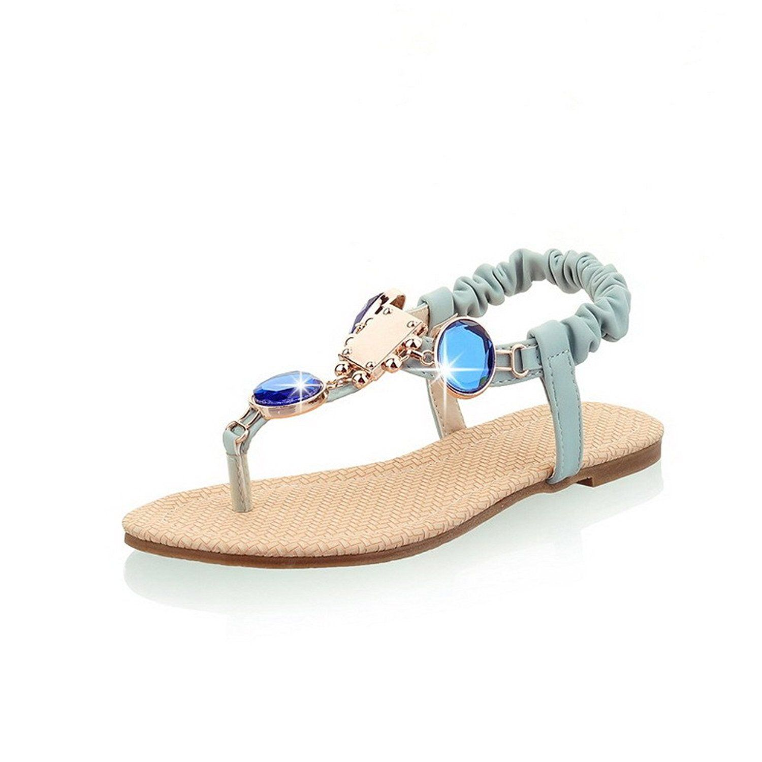 3eb591b269df VogueZone009 Women s No Heel Soft Material Solid Elastic Split Toe Flip-Flop -Sandals    You can find more details by visiting the image link.