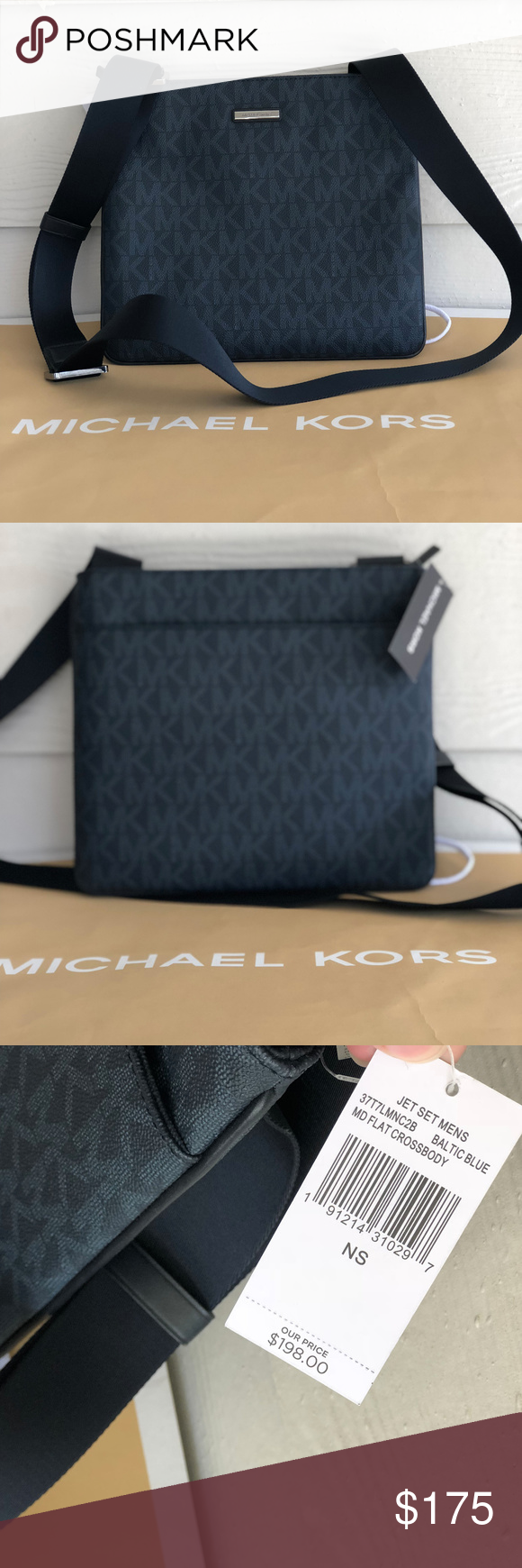 8ab1b5000471 Michael Kors Mens Jet Set Flat Blue Crossbody NWT 100% Authentic Michael  Kors Men s Jet