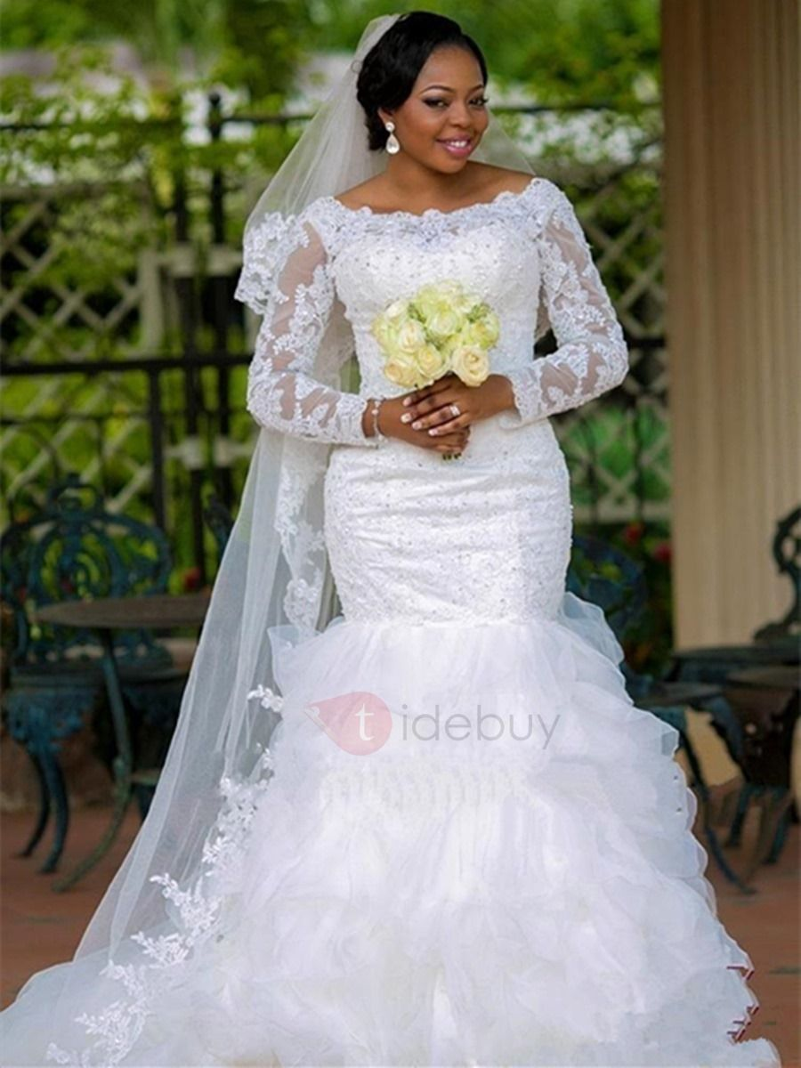 Mermaid plus size wedding dresses  Tidebuy Offers High Quality Bateau Beaded Appliques Long Sleeves