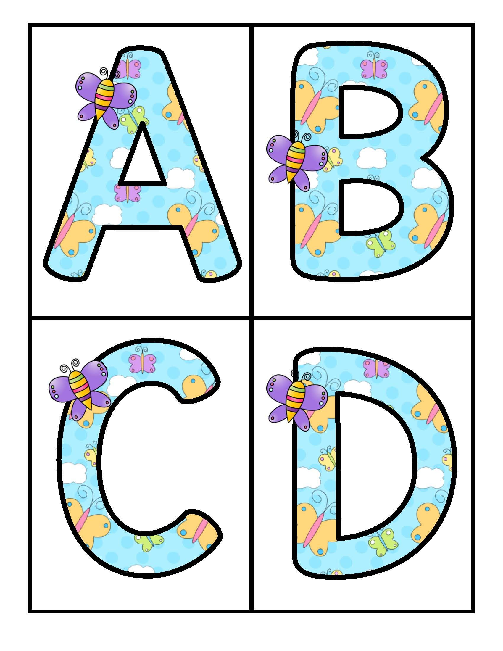 Spring Butterflies Large Alphabet Letters Upper And Lower