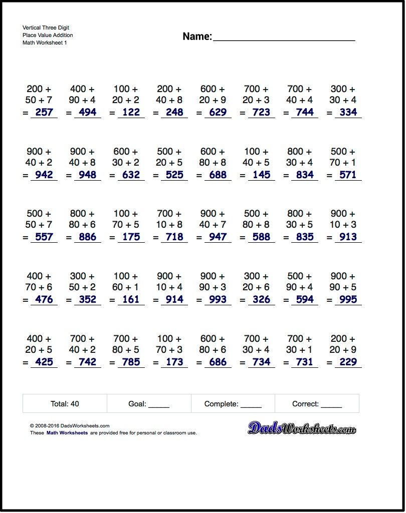 these place value additon worksheets are good first steps. Black Bedroom Furniture Sets. Home Design Ideas