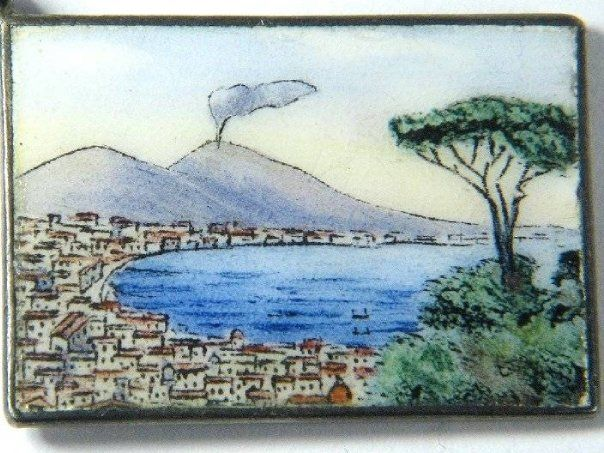 Bay of Naples silver and enamel postcard charm