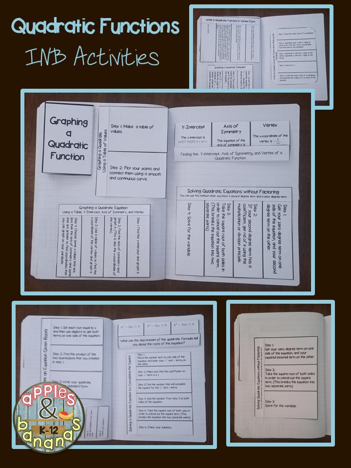 Quadratic Functions - Interactive Notebook Activities