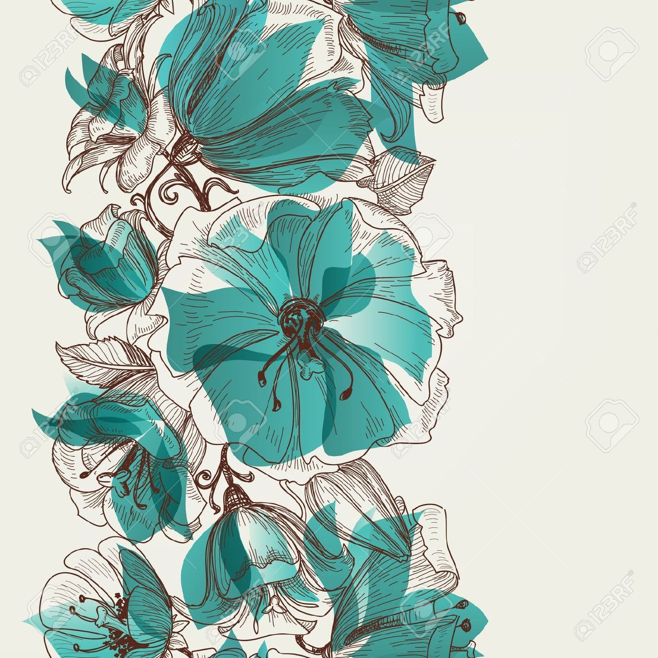 Templates Vector Wallpaper Of Flowers And Tree On Turquoise