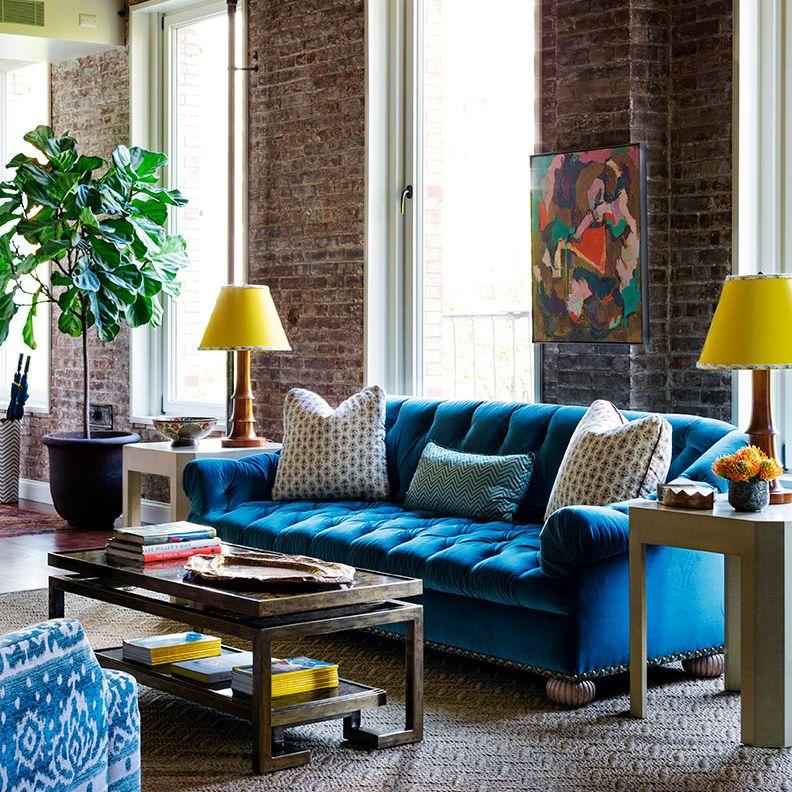 Blue Sofa Living Room Design Tilton Fenwick Use Of Color & Pattern  Bedding Pinterest