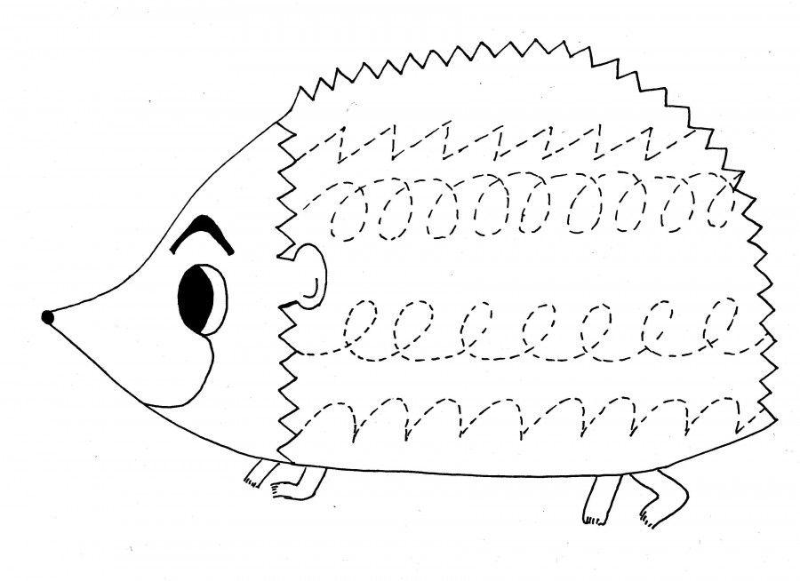 hedgehog trace worksheet crafts and worksheets for preschool toddler and kindergarten. Black Bedroom Furniture Sets. Home Design Ideas