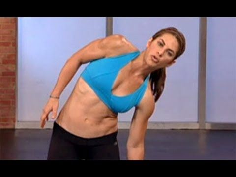 Jillian Michaels: Standing Abs! Penguin taps - 20 reps; Standing oblique crunch - 20 reps each side; Pike crunch - 20 reps each side; High knees - 30 seconds...Do 3 sets right in a row.