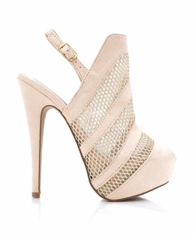 Shoe-tensity: Nude Mesh Cutout Ankle Strap High Heel Slingback Peep Toe Suede Shoe
