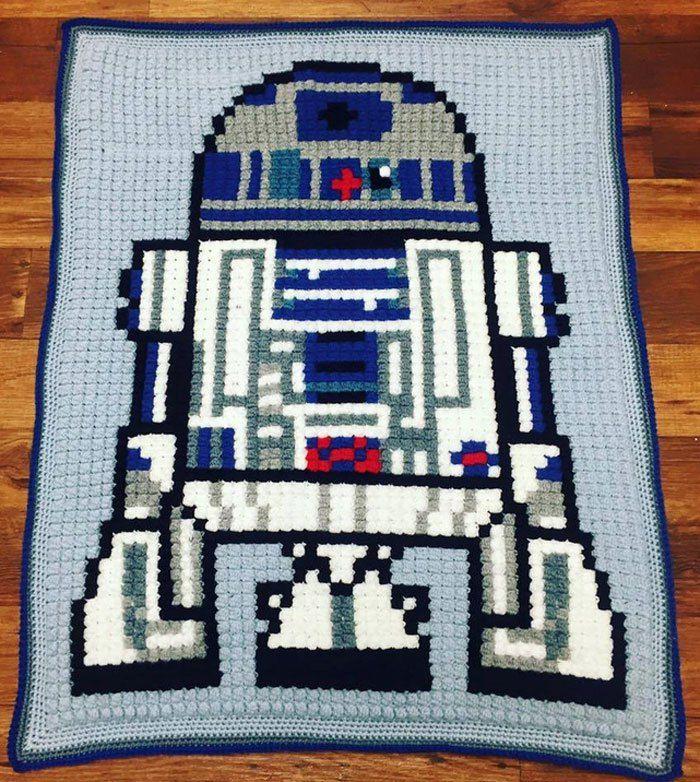 Crochet Bobble Robot Graphghan + Tutorial Help | Deckchen