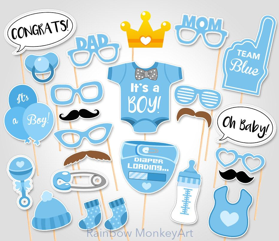 Baby Shower Photo Booth Props Printable Photo Booth Props It S A Boy Baby Photobooth Props Team Blue Printable Party Props Baby Shower Photo Props Baby Boy Shower Party Baby Shower Photos