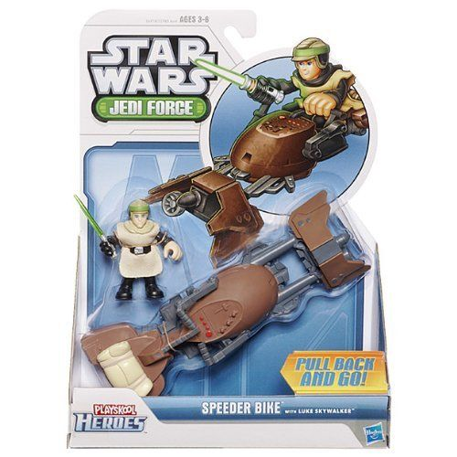 Star Wars Jedi Force Speeder With Luke by Hasbro. $13.99. Luke Skywalker is extremely proud of his landspeeder. It allows him to zoom over the deserts of Tatooine on countless exciting adventures. This awesome 2-pack includes the noble Luke Skywalker figure and a speedy Landspeeder vehicle for him to ride. Pull the vehicle back and let it go speeding away.Product Dimensions (inches): Age: 3 years and up
