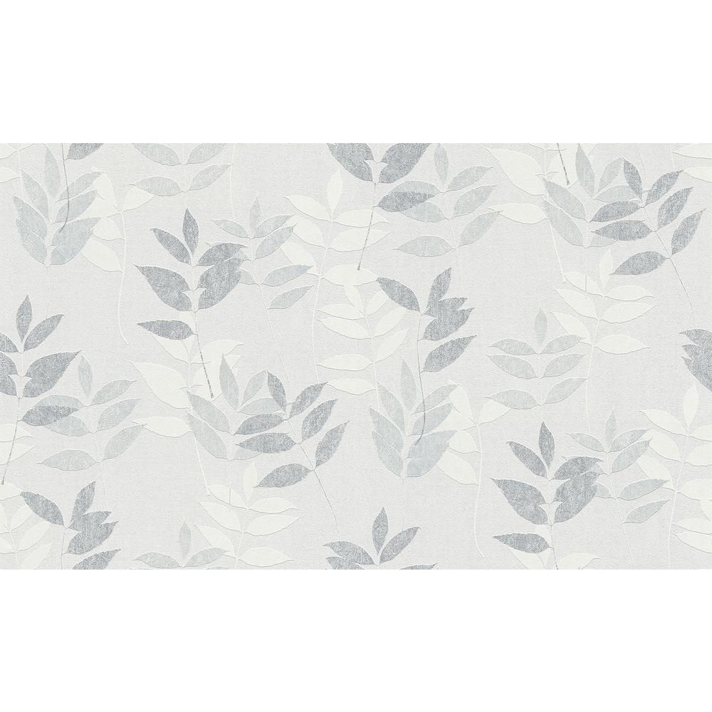 Give Your Walls A Delicate And Earthy Touch With Napali The Soothing Grey Hues And Botanical Design Are T In 2020 Grey Wallpaper Leaf Wallpaper Grey Wallpaper Samples