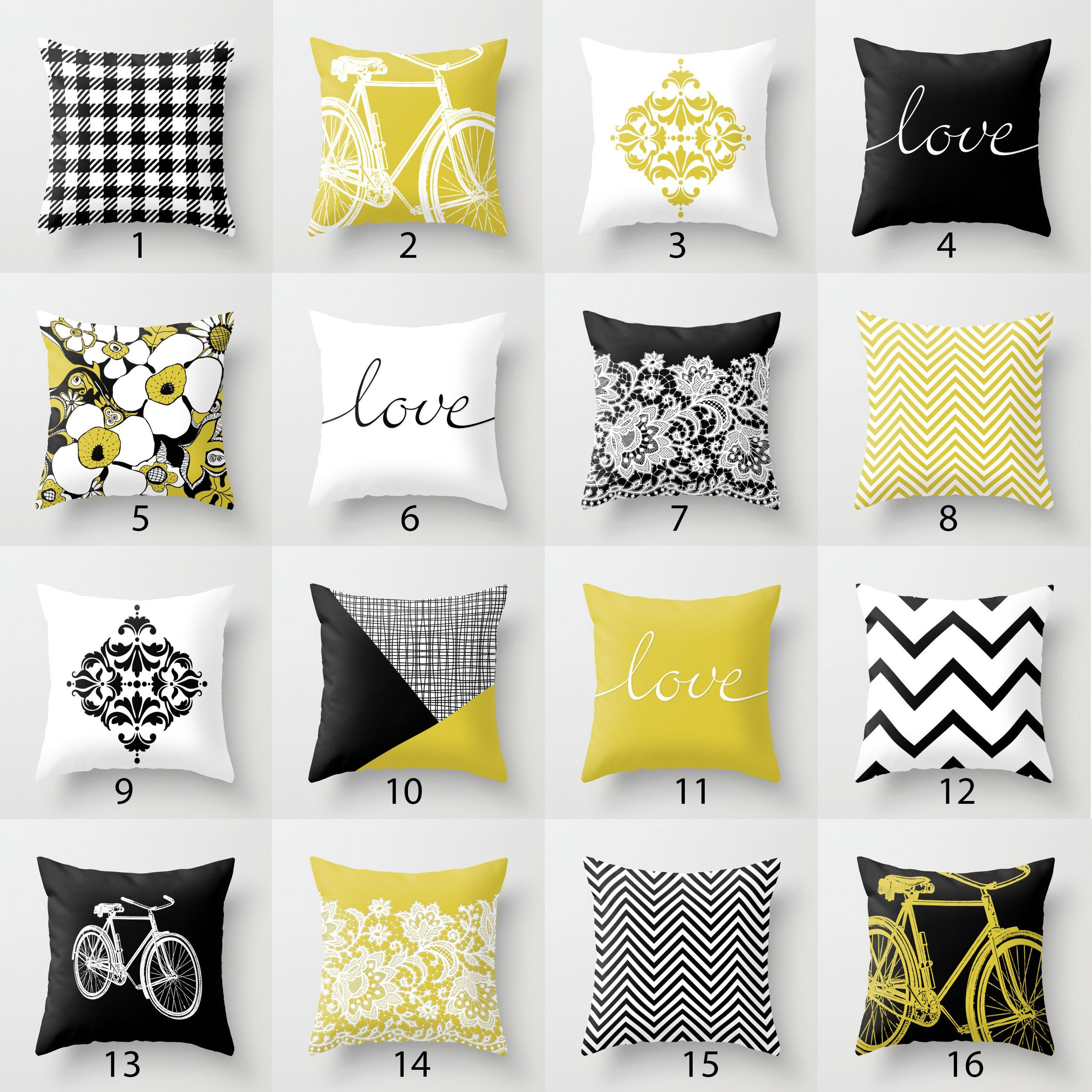 Black White Mustard Yellow Throw Pillow Mix And Match Indoor