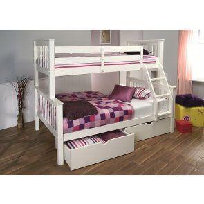 Best White Pavo Triple Sleeper Bunk Beds Suoer 3 Sleeper 4Ft 400 x 300
