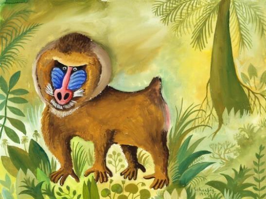 Hans Christian Scherfig Mandril In The Jungle 1953 In 2020 Hans Christian Magazine Art Fine Art