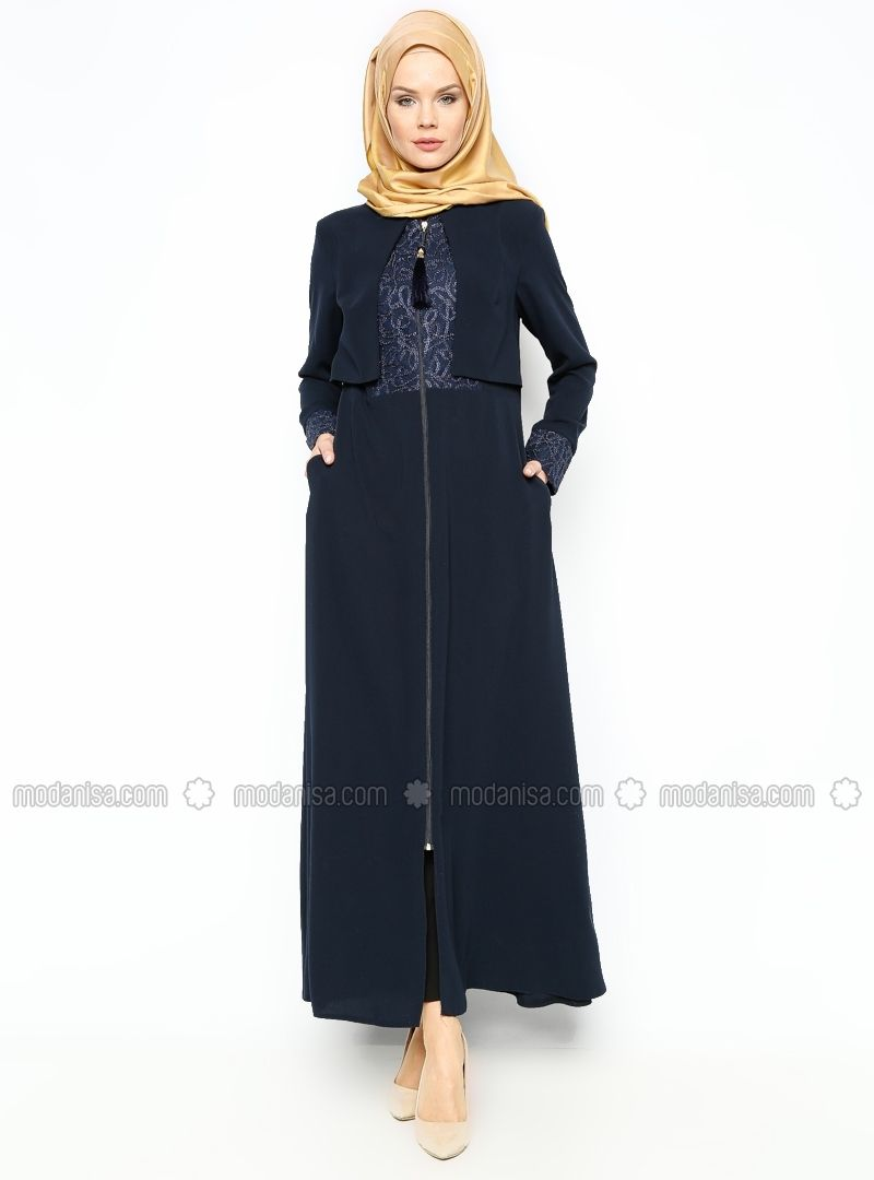 d0636cfc5 Zippered Abaya - Navy Blue - Abayas - Modanisa | Stuff | Navy blue ...