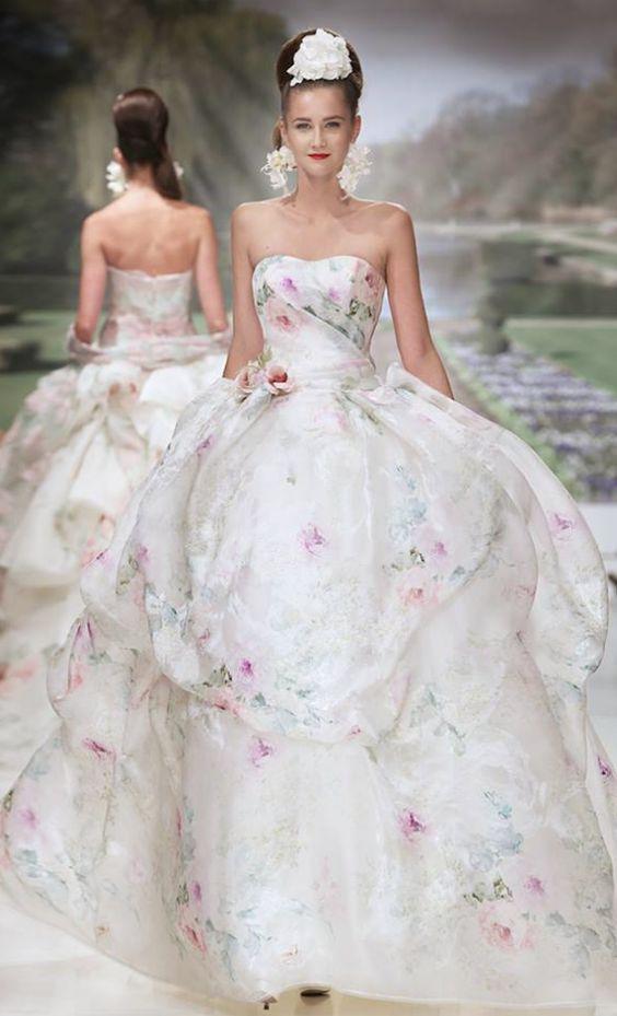 Dipped Neckline Floral Printed Strapless Ballgown | Atelier, Wedding ...