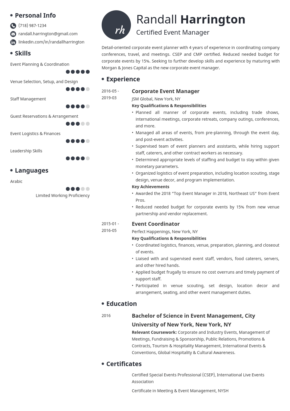 Event Manager Resume Example Template Initials Manager Resume Job Resume Examples Resume Examples